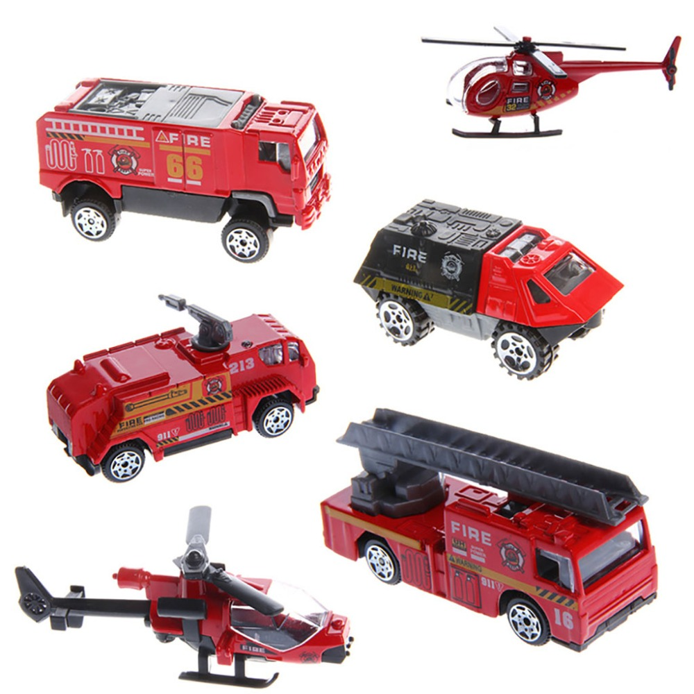 6Pcs 1:87 Fire Engineering Aircraft Trucks Fire Police Car Kids Alloy Model Toys Hot-in Diecasts ...