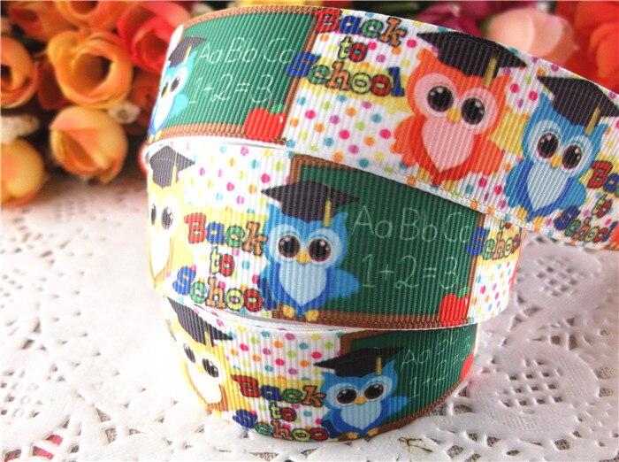 DIY 1-10 Yard 1/'/'25MM Owl gift Printed Grosgrain Ribbon Hair Bow Sewing Ribbon