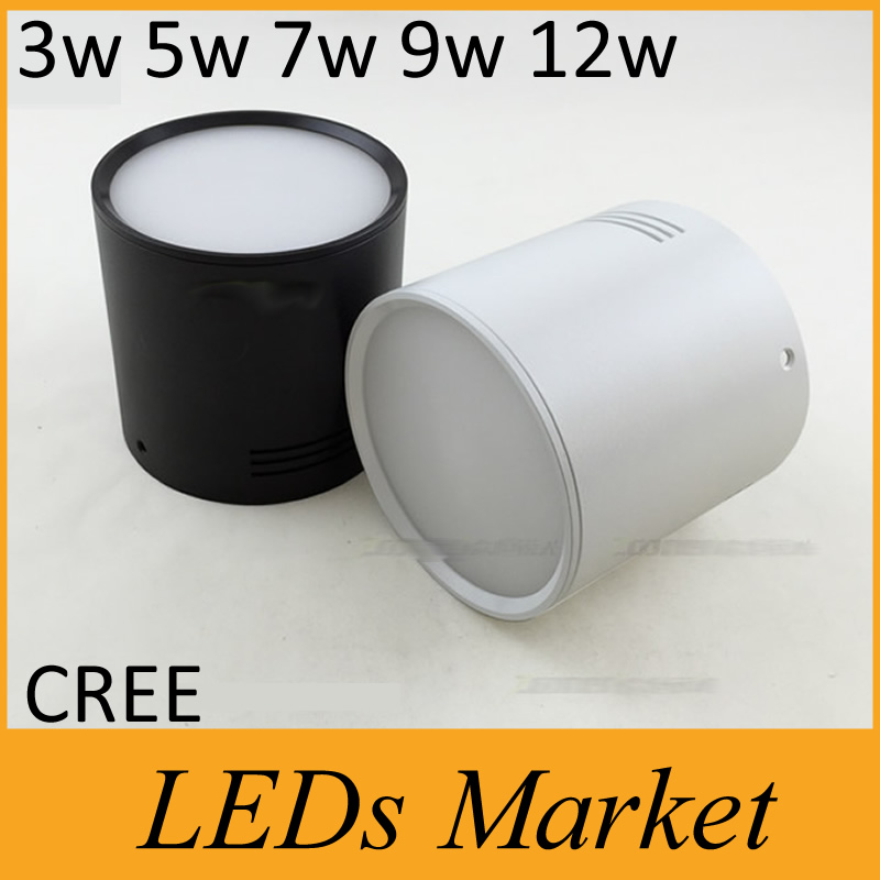 Surface Mounted Dimmable LED Downlight COB 3W5W7W10W12W LED Down Lights AC110V220V WhiteBlack Housing Color