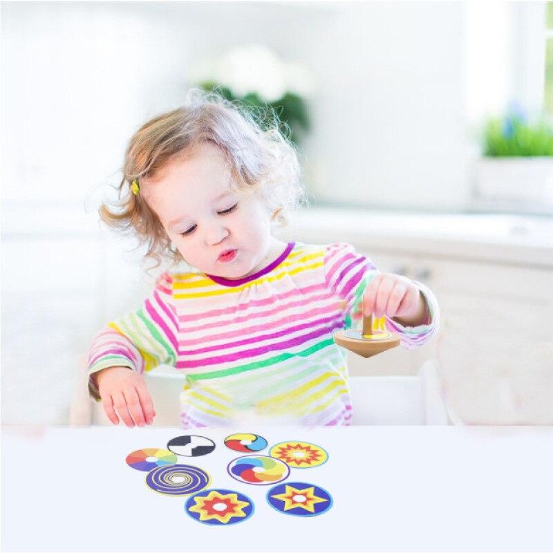 Природа Деревянный Прядильный механизм забавная игрушка мини Красочные Классический игрушка гироскоп с 8 Рисование карты развлекательные ...