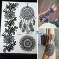 1 UNID Dreamcatcher Indio Grandes Sun Flower Caliente Estilo de la Pluma A Prueba de agua Etiqueta Engomada Del Tatuaje Temporal de Henna Mehndi Tatuaje Negro PBJ013A