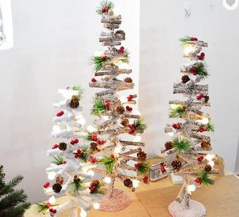 Home Christmas Decorations Mini Artificial Wooden Christmas Trees