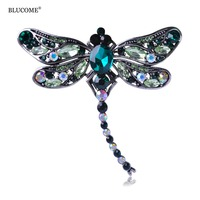 Cute Dragonfly Insect Brooches For Women Gold Plated Rhinestone Crystal Brooch Hot Blouse Scarves Clip Pins