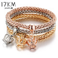 17KM New Fashion Crystal Crown Bracelets Bangles Jewelry Gold Color Chain Anchor Bracelet Hollow Owl Charm Bracelets For Women