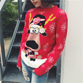 Christmas Sweater with Deer Women Autumn Winter Female Cartoon Elk Snowflake Print Knitted Pullovers Jumper Sweaters pull femme