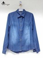WomensDate 2017 Spring Women Slim Long Sleeved Jeans Blouse Shirts Lapel Washed Cotton Denim Shirt Girl