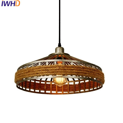 IWHD Iron Pendant Light Fixtures Loft Style Retro Vintage Industrial Lamp Kitchen Dining Home Lighting Henp Rope Luminaire iron cage loft style creative led pendant lights fixtures vintage industrial lighting for dining room suspension luminaire