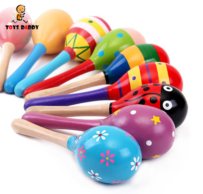 Colorful 11cm Sand Hammer Rattle Infant Mini Wooden Maracas Child Madera Party Musical Toys Baby Shaker Early Educational Toys
