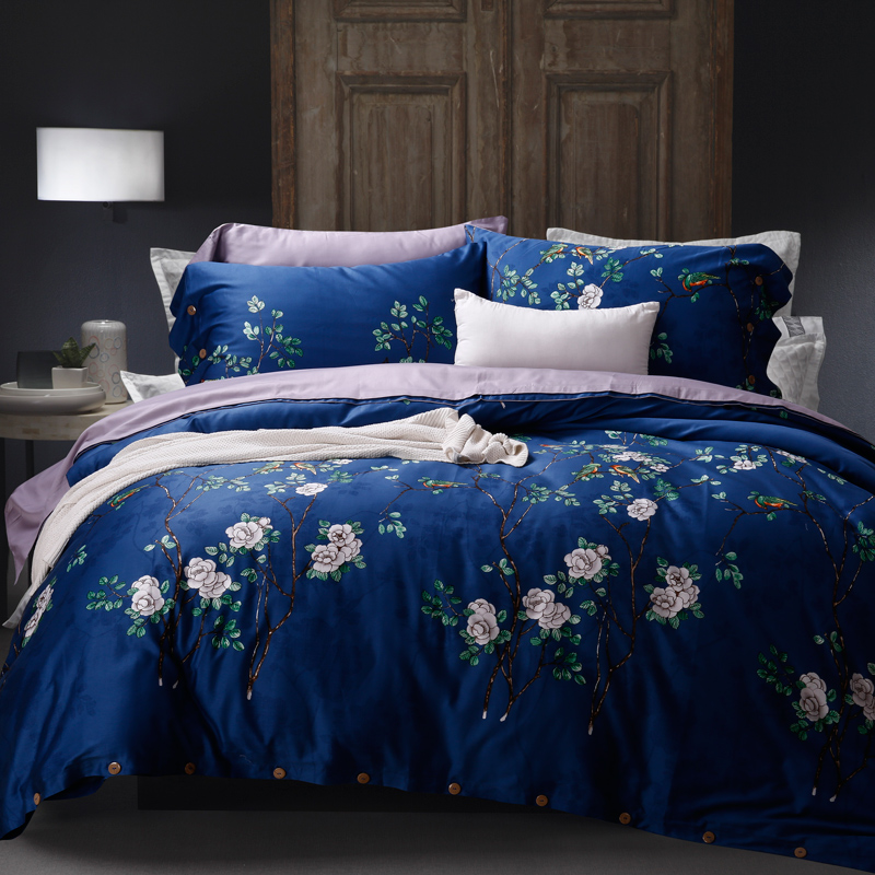 100 Cotton Navy Blue Flowers Bedding Set Duvet Cover Bed