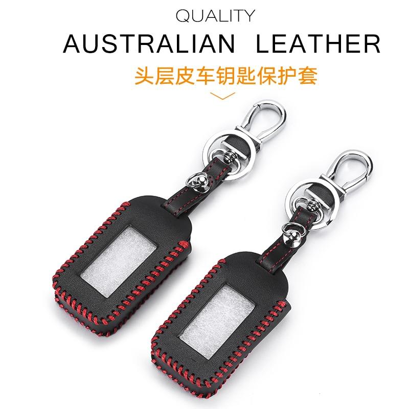 New E90 Leather Key Case For Starline E90 E91 E60 E61 E62 Car LCD Alarm Remote Controller Keychain Cover Hand-Made Style