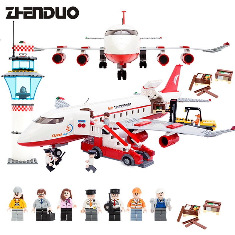Block City Large Passenger Plane Airplane Block 856+pcs Bricks Assembly Boys Building Blocks Educational Toys For Children hot city series aviation private aircraft lepins building block crew passenger figures airplane cars bricks toys for kids gifts