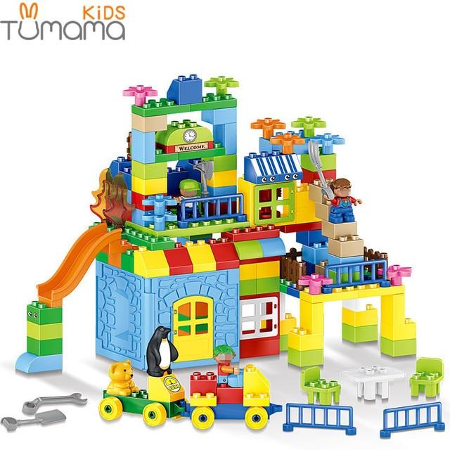 Big Size Building Blocks 160pcs Amusement Park Model Building Toys Large Size Kid Educational Toy Compatible with Legoed Duploed