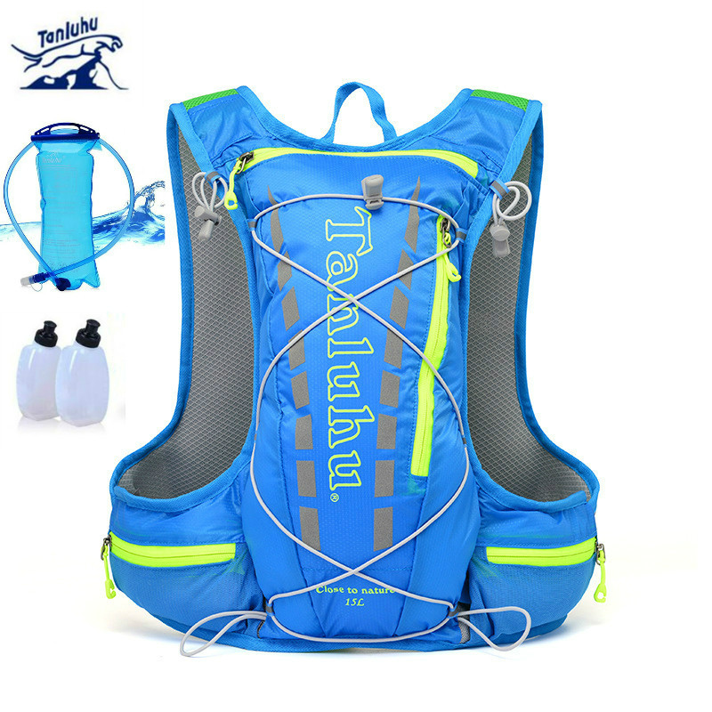 TANLUHU Men Women Nylon Running Backpack 15L Hydration Backpack Ultralight Breathable Cycling Hiking Marathon Water Bag Rucksack