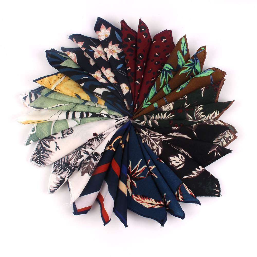 Fashion Flroal Pocket Square For Men Women Print Suits Hanky Mens Handkerchiefs Suit Square Handkerchief Towels Scarves For Man