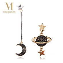 2018 New Design Asymmetric Earrings For Women Trendy Bijoux Rhinestone Moon Star Planet Pendientes Hot Party Girl Gifts(China)