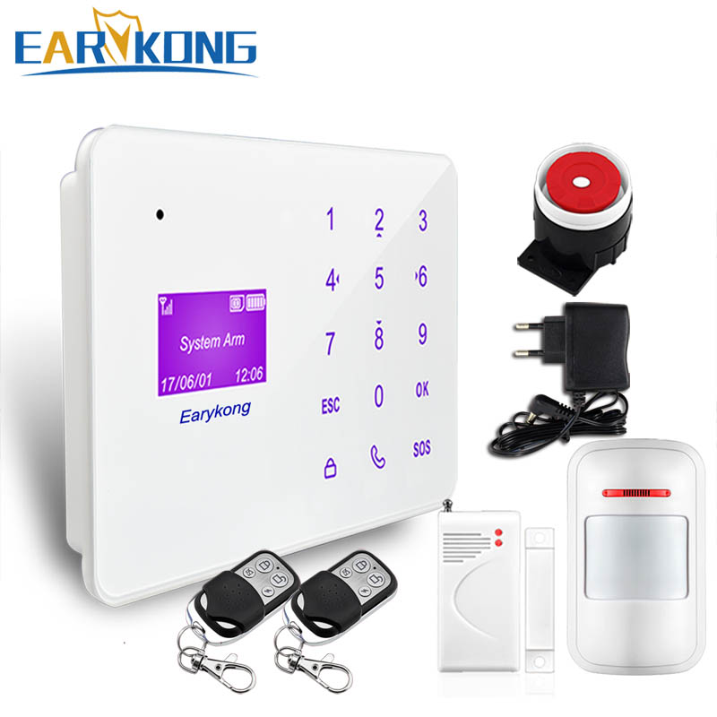 NEW Earykong 433MHz Wireless Home Burglar GSM SMS Alarm System, English Russian Spanish French Language Touch Keyboard цена