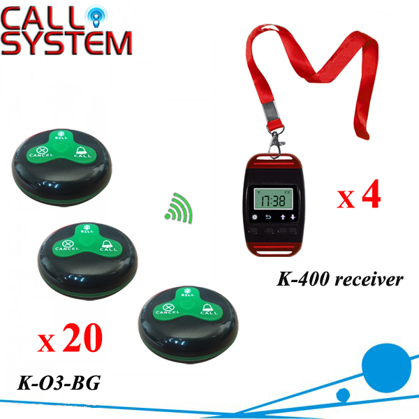 CE Passed Waiter Bell Caller Server System 4 pager with neck rope 20 Alarm clock free shipping one set wireless system waiter caller bell service 1 watch wrist pager with 5pcs table customer button ce passed