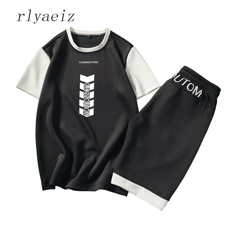 Rlyaeiz New Tracksuit Men Sweat Suit 2018 Summer Men's Color Patchwork Letter Printed Tshirts + Shorts Sets Male Sporting Suits