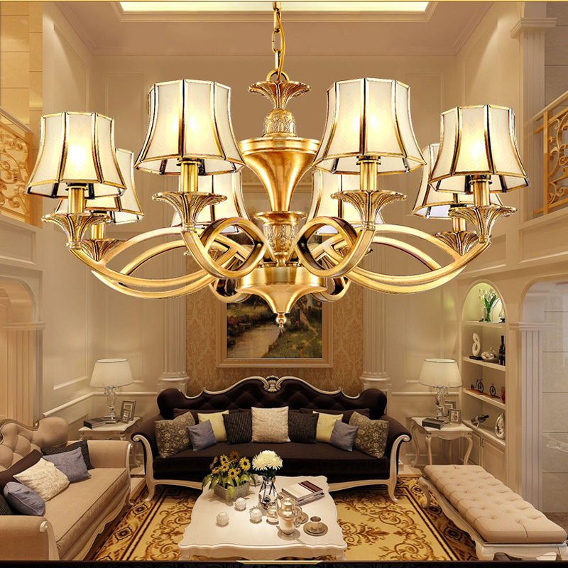 цена Living room chandeliers retro ceiling chandeliers country style copper lamp simple dining room chandelier lamp bedroom office