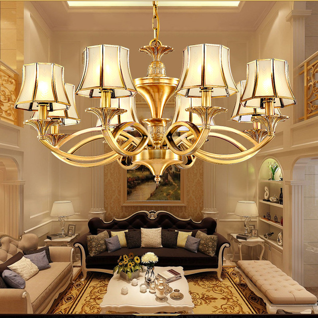 Living Room Chandeliers Retro Ceiling Country Style Copper Lamp Simple Dining Chandelier Bedroom