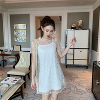 Summer Boho Sexy Mini Dress Women Sundress Spaghetti Casual O-Neck Bow Decorated Bandage Dress Holiday Club Party Dress Vestidos