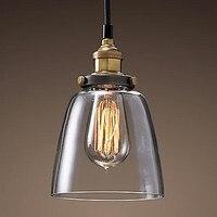 Loft stil Jahrgang Lampe Industrielle Anhänger Leuchten Edison Pendelleuchten In Glas Lampenschirm-in Pendelleuchten aus Licht & Beleuchtung bei