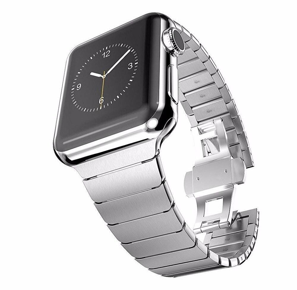 Edelstahl strap Für Apple uhr correa 42mm 38mm band iwatch serie 3 2 1 männer link armband handgelenk gürtel schmetterling schnalle