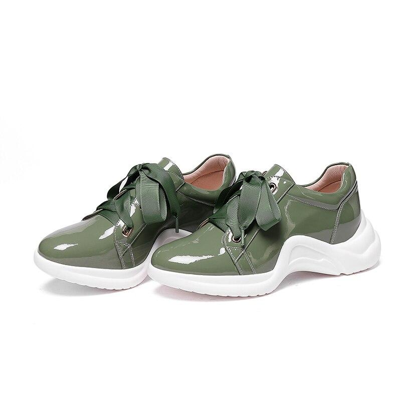 Rond Papa Vert Lace Femmes Appartements Abruti Insérer 2018 blanc Sneakers Maladroit Bout Automne forme Up Plate Wetkiss En Cuir Chaussures wgUI0I