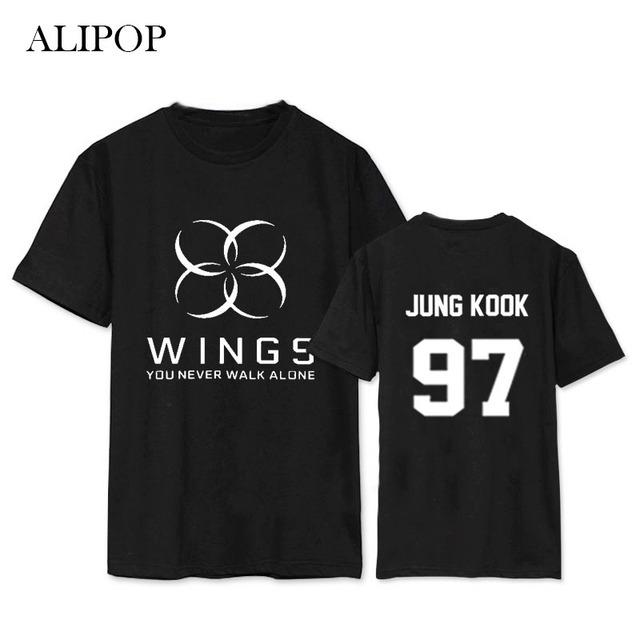 Kpop BTS Bangtan Meninos ASAS ALIPOP VOCÊ NUNCA ANDARÁ SOZINHO álbum Camisas Roupas Camisa Camiseta T Tops de Manga Curta T-shirt DX400