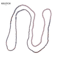 KELITCH Jewelry Bright Crystal Beads Strand Summer Necklace For Beach Bohemian Handmade Simple Necklaces For Gifts