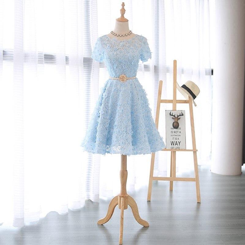 Real Photo O-Neck Short Sleeve Light Blue Lace With Flowers Ball Gown Robe De Soiree Longue Formal Dress Vestido De Noche 0704 grupo de noche