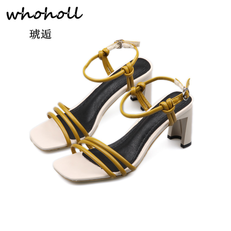 Whoholl 2018 New Summer Women Sandals Open Toe Flip Flops Womens Sandles Thick Heel Women Shoes Korean Style Gladiator Shoes