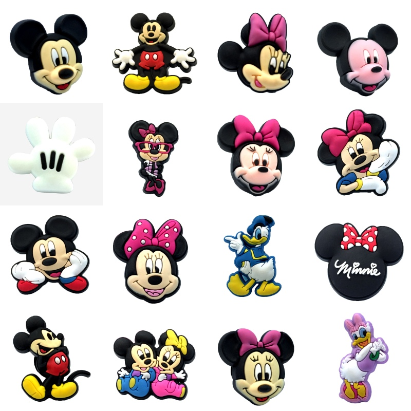1PCS Mickey Minnie PVC Shoe Charms Well-Made Shoe Accessories Shoe Buckles Charms Fit Bracelets Croc Charms JIBZ Kids Gift