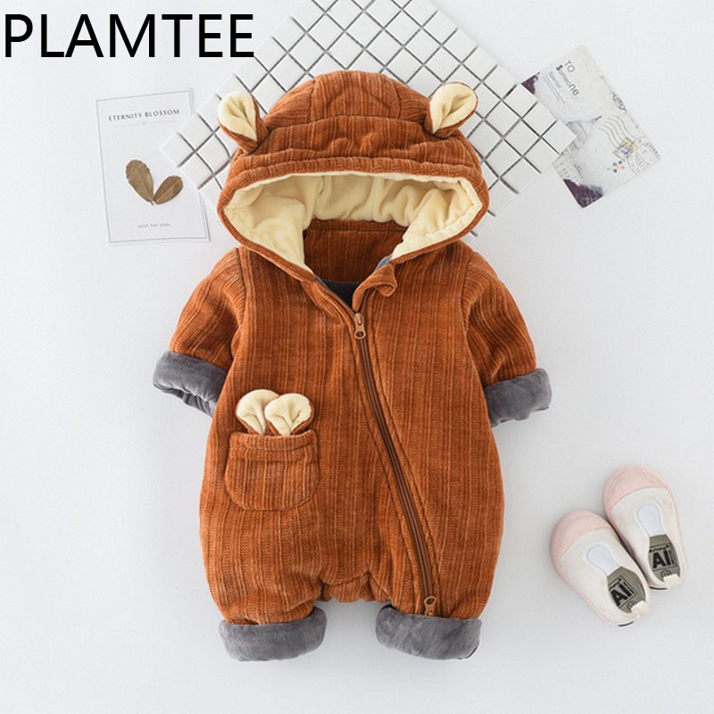 PLAMTEE Cartoon Image Baby Rompers Warm Tiny Cottons Newborn Jumpsuit Thick Long Sleeves Boy Girl Clothes Children Overalls New 2017 funny baby christmas rompers tiny cottons red green long sleeve toddler fashion jumpsuit sunsuits baby party