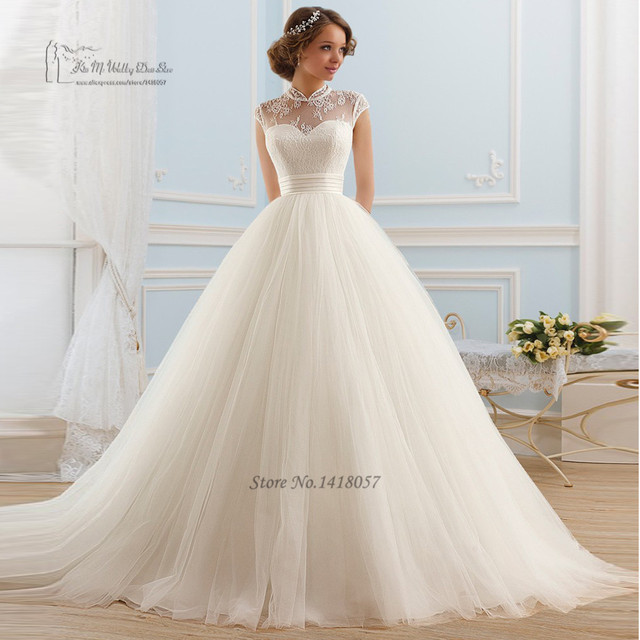 Vintage Boho Wedding Dress 2016 Lace High Neck Bridal Dresses Cap ...