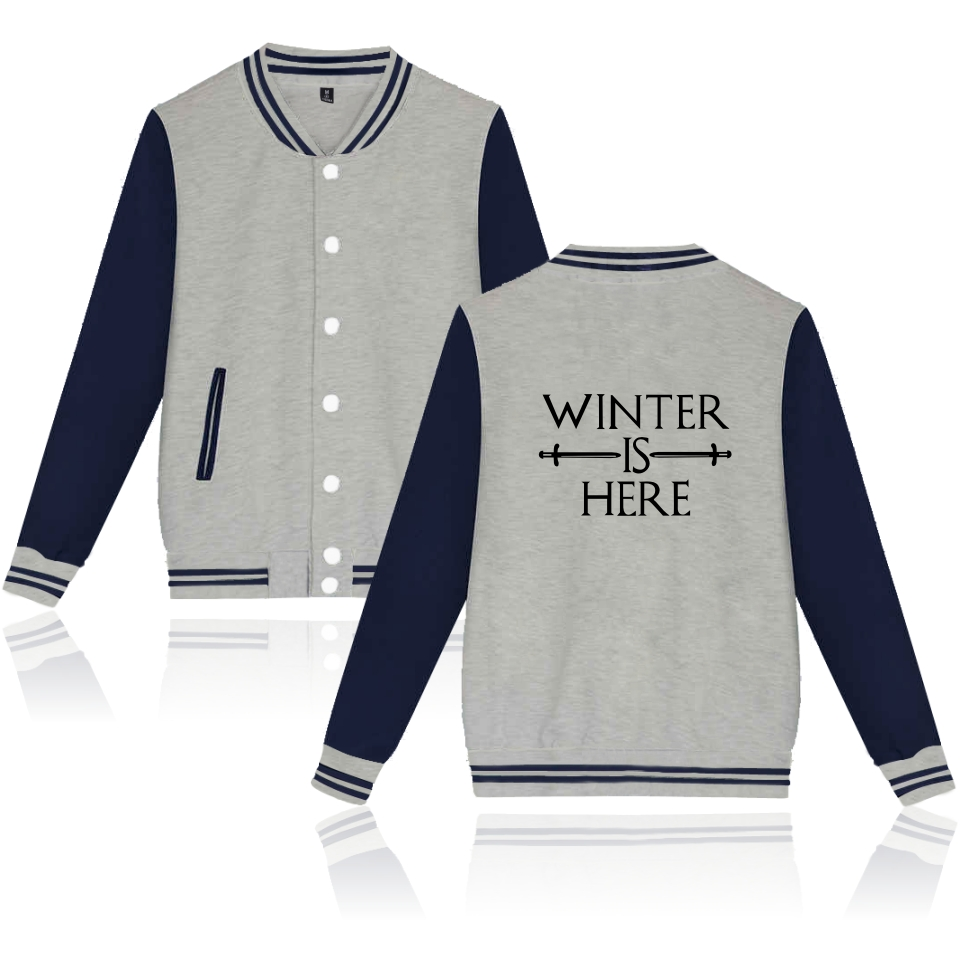 Winter is here jacket coats Basic Baseball Hoodies Hip Hop Tracksuit Streetwear Cardigan Winter is here