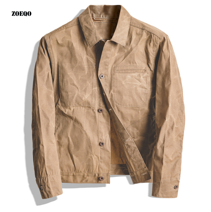 New High-quality Men Jacket And Coat Tool American Retro Heavy Oil Wax Canvas Khaki Jacket Classic Double Cut Slim Jacket Men