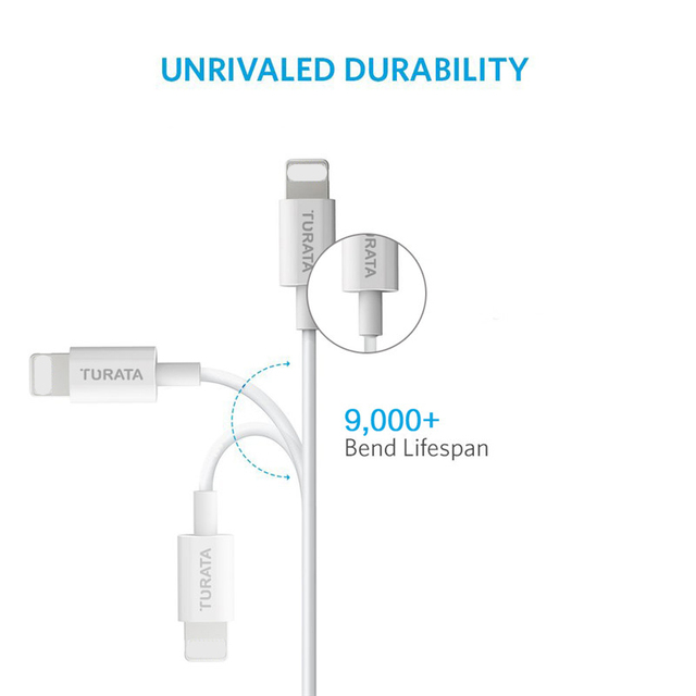 TURATA High Speed USB Charge Data Sync Cable for iPhone 5 5S 6 6S Plus iPad Air Charging Line