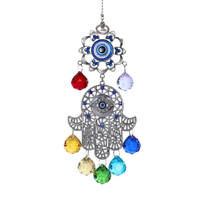 H & D boules dénergie Chakra cristal   Attrape-soleil Hamsa main de Fatima, oeil maléfique bleu turc pour décoration de jardin maison, cadeau porte-bonheur