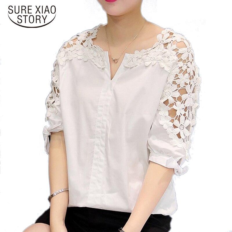 5f0b5bad10dc36 2019 kobiety koronka szyfonu bluzki kobiety Plus rozmiar bluzki koronki koszula  Hollow Out Casual krótki rękaw kobiet topy odzież 823A 30