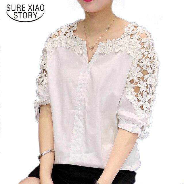 0917c54ce63c7 2019 women Lace chiffon blouses Women Plus Size Lace Blouses Shirt Hollow  Out Casual Short Sleeve