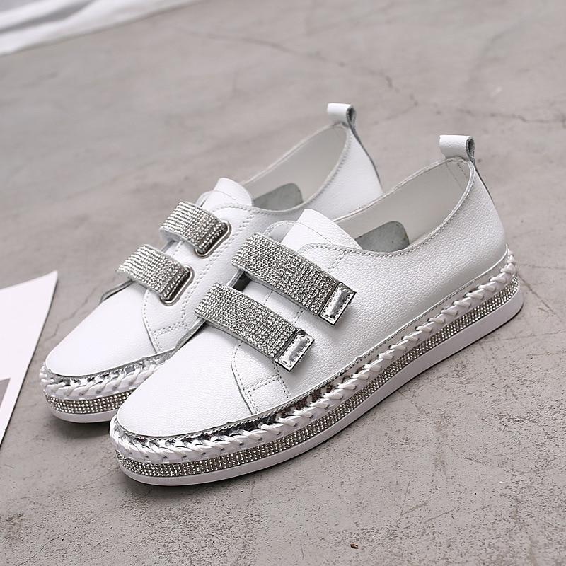 Yu Kube Crystal Genuine Leather sneakers Loafers Shoes 2020 HOOk&LOOP Woman platform Flats Ladies white Walking shoes 1