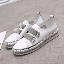 Yu Kube Crystal Genuine Leather sneakers Loafers Shoes 2020 HOOk&LOOP Woman platform Flats Ladies white Walking shoes(China)