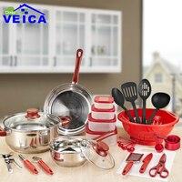 35 Piece Thép Không Gỉ Cookware Set Pots & Chảo Bếp Nhà Cookingd Bộ Công C