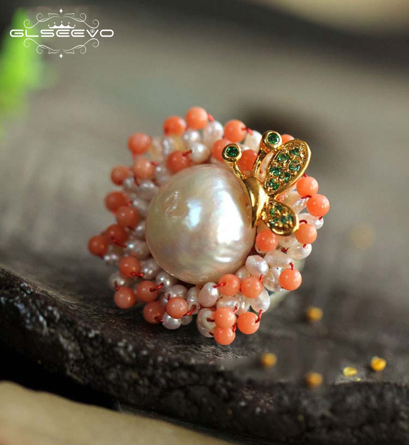 GLSEEVO Natural Fresh Water Baroque Pearl Flower Brooches For Women Luxury Pendant Dual Use Brooch Pins Fine Jewelry GO0060