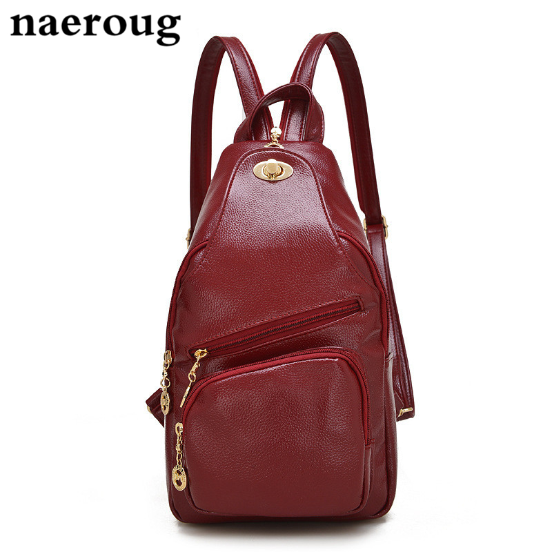 ФОТО Fashion Women's Backpacks Genuine Leather Women Girl School Bags Travel Shoulder Bags Women Chest Back Packs Cross Body Backpack