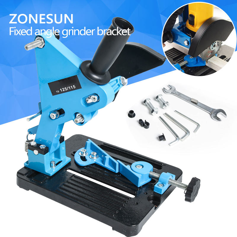 ZONESUN Angle Grinder Stand Grinder Holder Support Cast Iron Base Bracket Holder for 115-125mm lab rectangular retort support stand base 160x 100mm cast iron with hole tapped m10x1 5mm and rubber feet in the short side