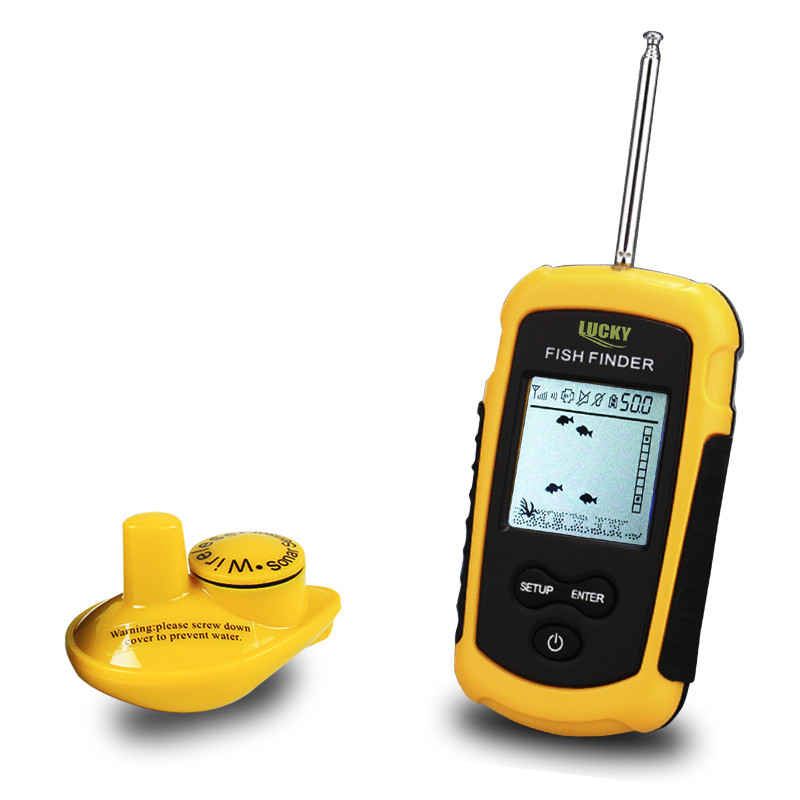 Lucky wireless fish finder sonar fishfinder 40m depth for Fish finder depth finder
