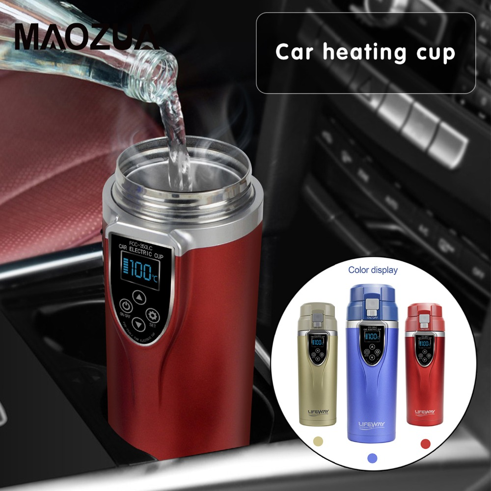 350ml Car Heating Cup 12V 24V Water Heater Kettle Coffee Tea Boiling Heated Mug Vehicle Water Heater Maker Travel kettle for Car