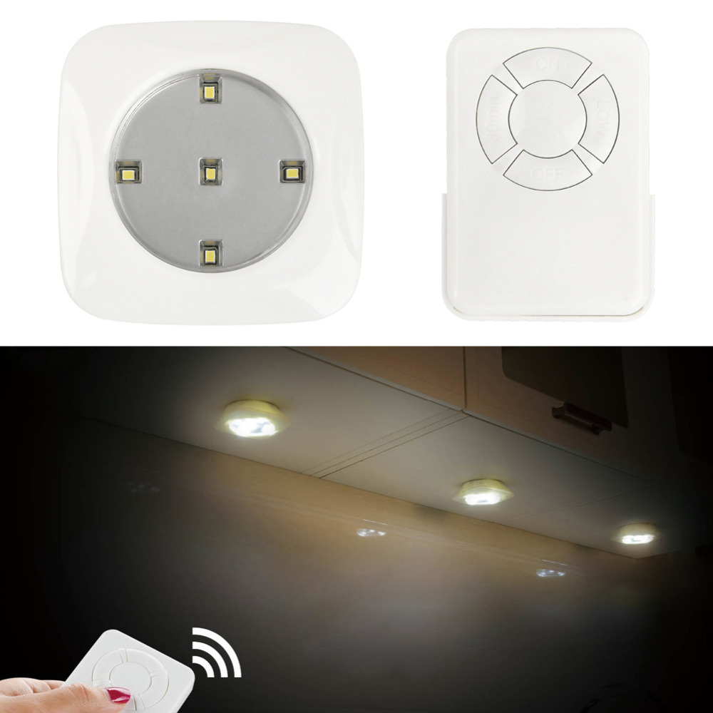 Jb Lighting Wireless Us 10 92 5 Off Modern Square Shape Wireless Remote Control Led Puck Living Room Bright Night Lights 3lamps 1 Remote Control In Led Night Lights